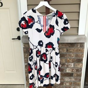 Maeve Flower Dress Cream Blue Red Teal x-small
